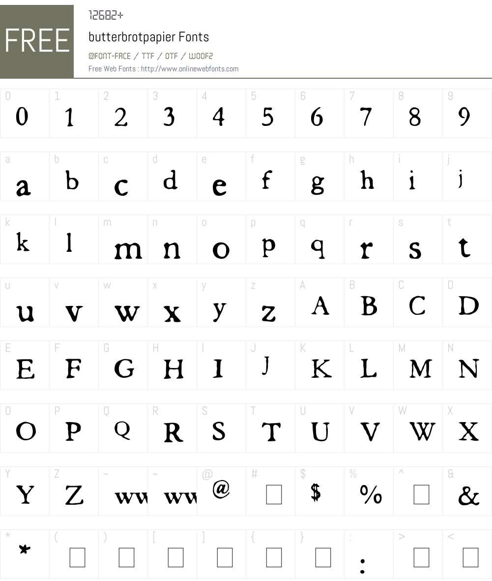 butterbrotpapier Font Screenshots
