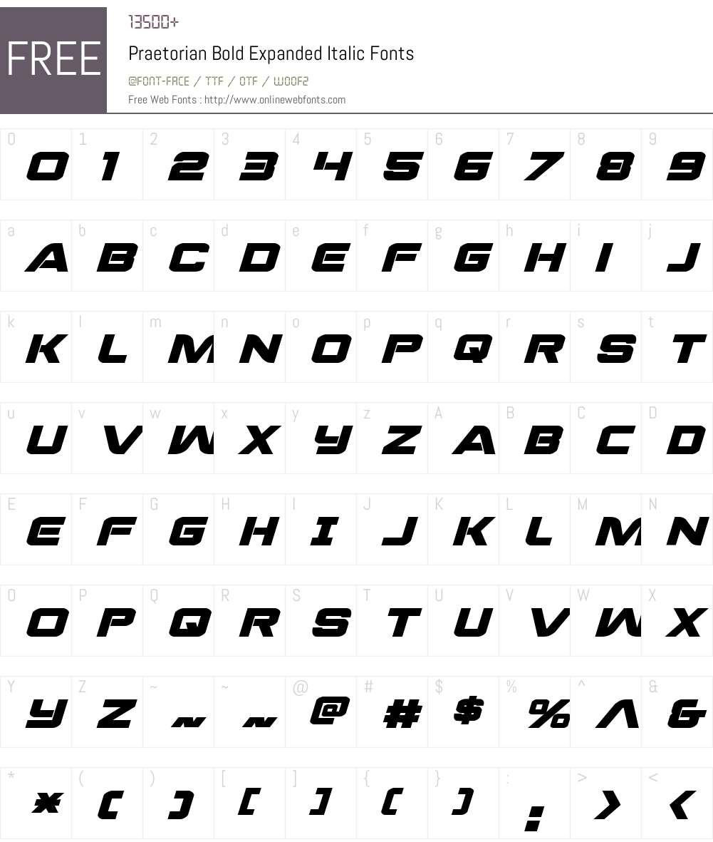 Praetorian Bold Expanded Italic Font Screenshots