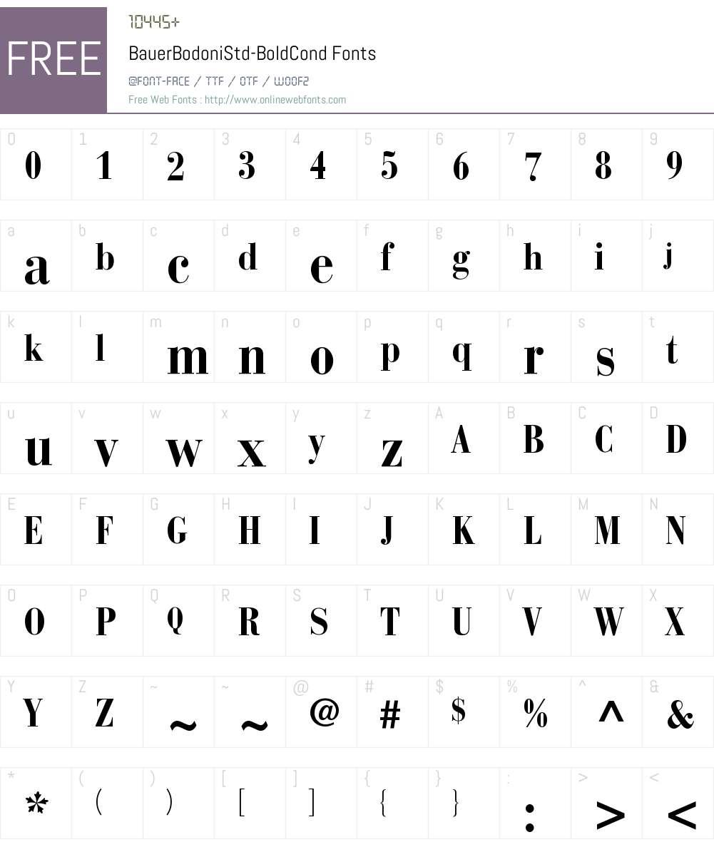Bauer Bodoni Std Bold Cond Font Screenshots