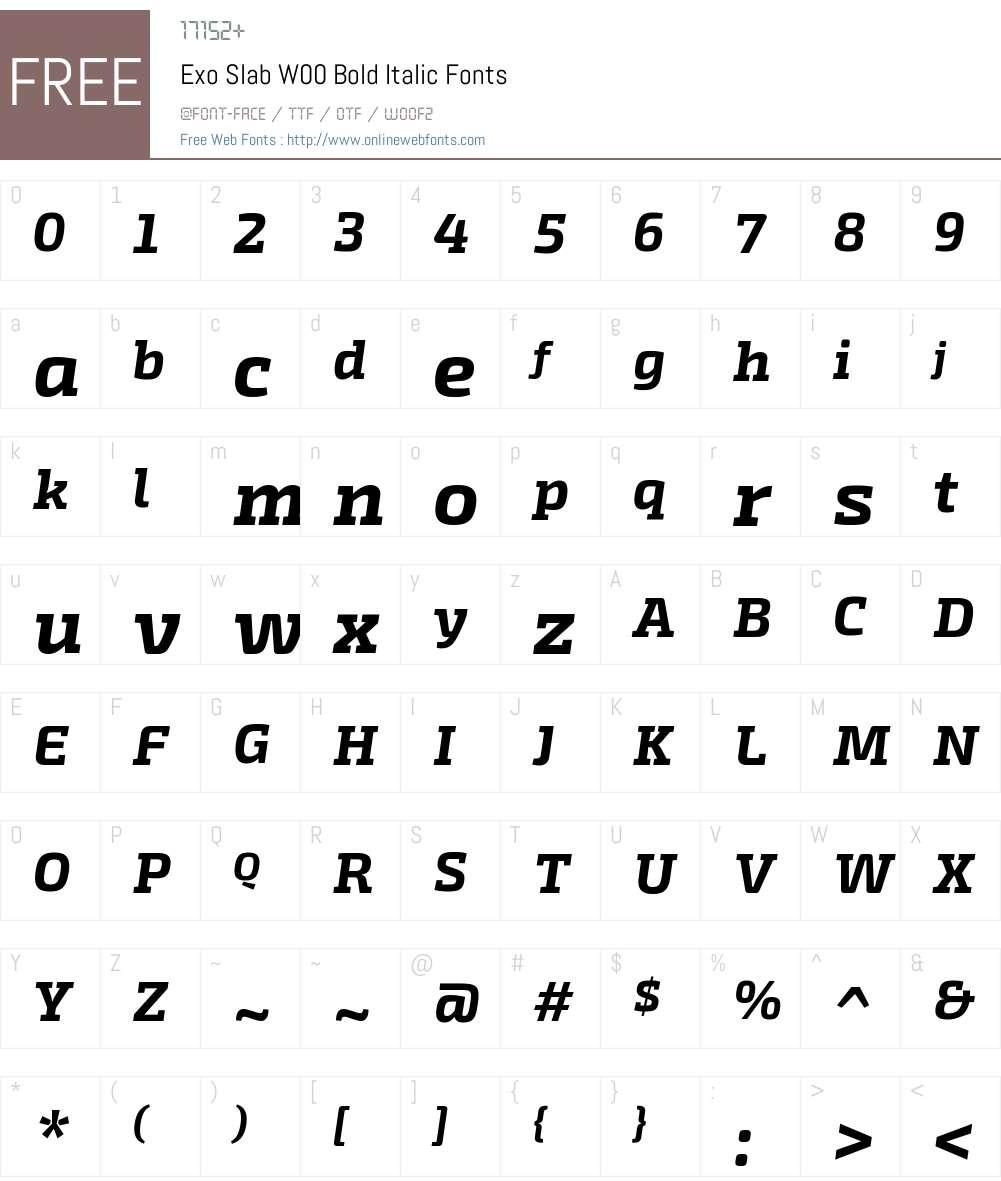 ExoSlabW00-BoldItalic Font Screenshots