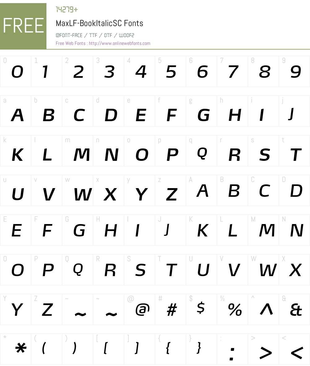 MaxLF-BookItalicSC Font Screenshots