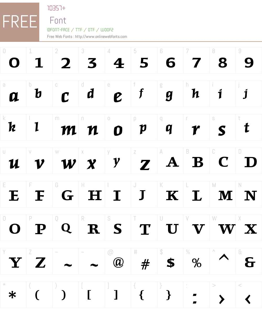 FriezeW00-BoldItalic Font Screenshots