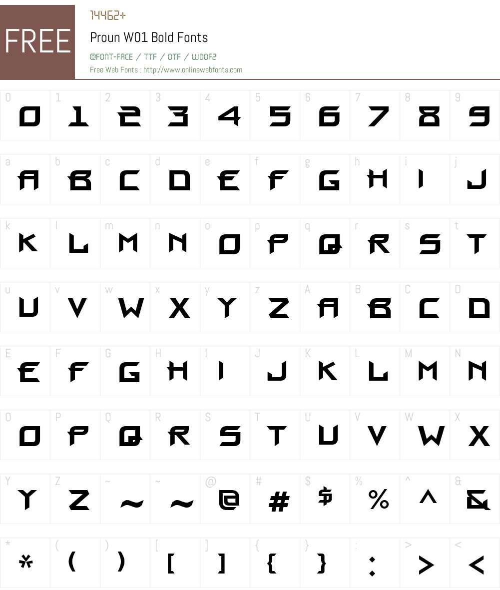 ProunW01-Bold Font Screenshots