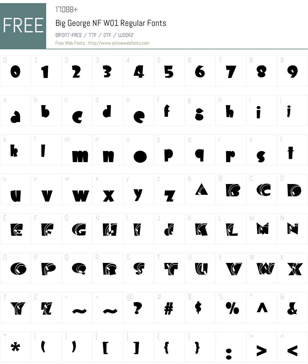 BigGeorgeNFW01-Regular Font Screenshots