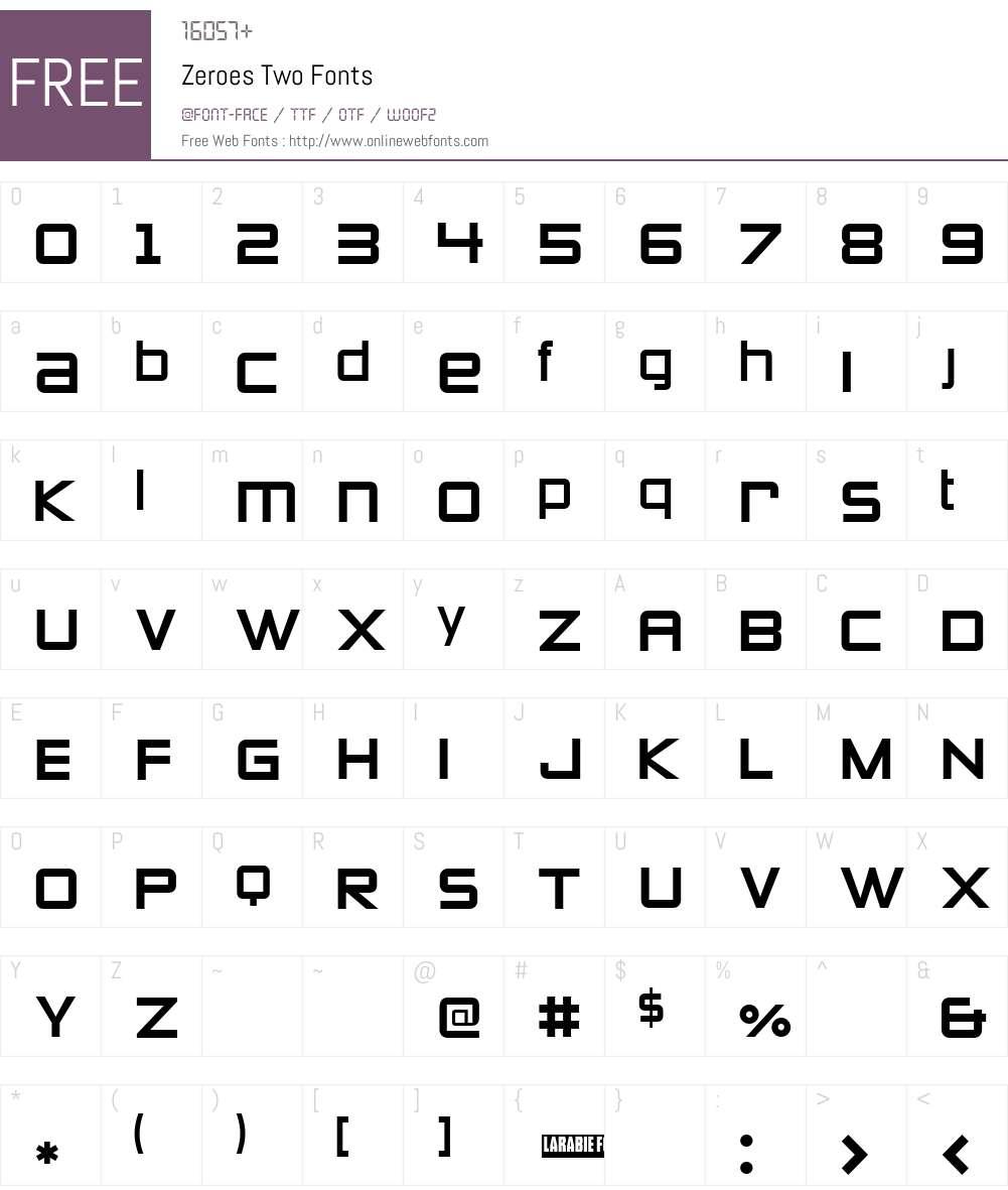 Zeroes Two Font Screenshots