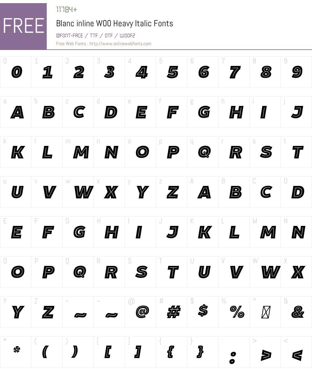 BlancinlineW00-HeavyItalic Font Screenshots