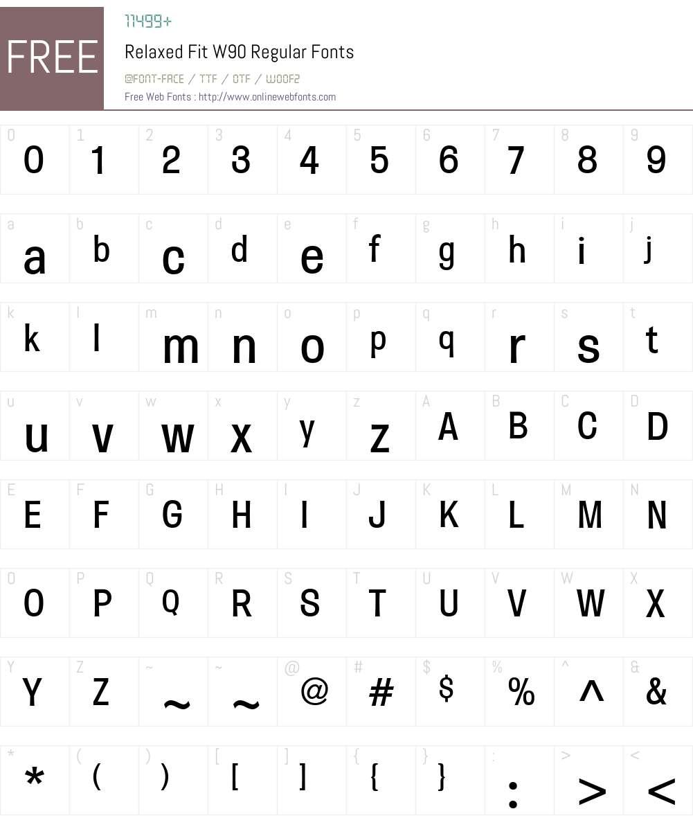 RelaxedFitW90-Regular Font Screenshots