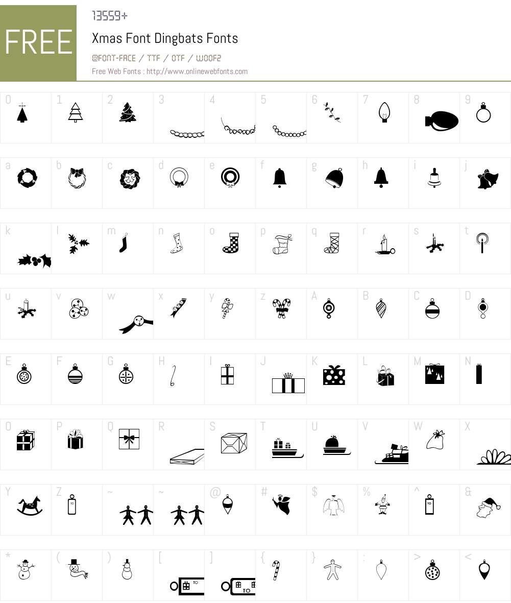 Xmas Font Dingbats Font Screenshots