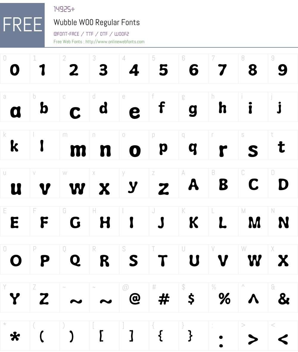 WubbleW00-Regular Font Screenshots