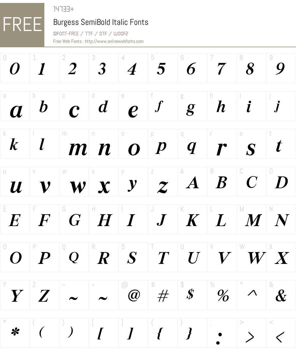Burgess SemiBold Font Screenshots