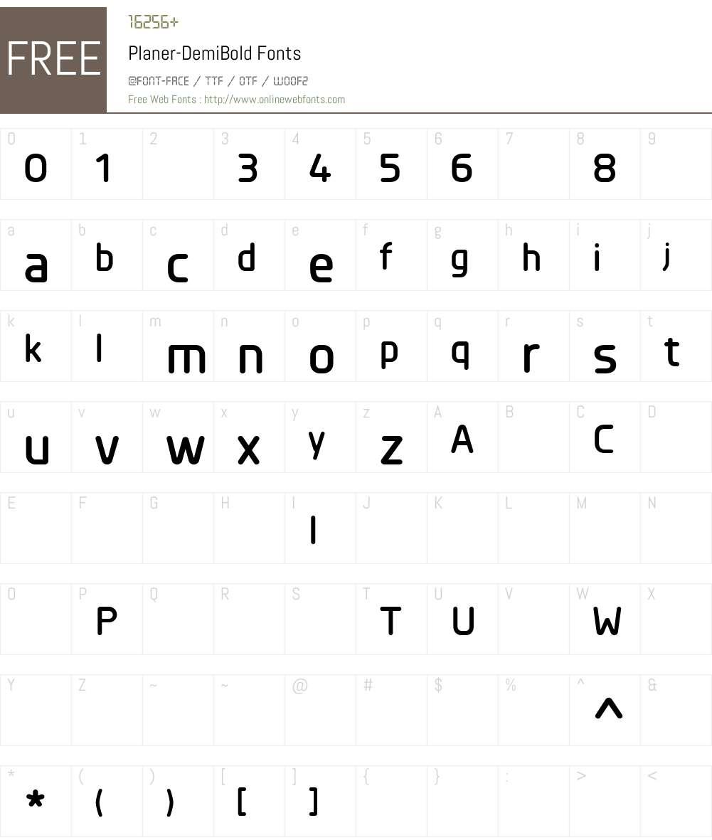 Planer-DemiBold Font Screenshots