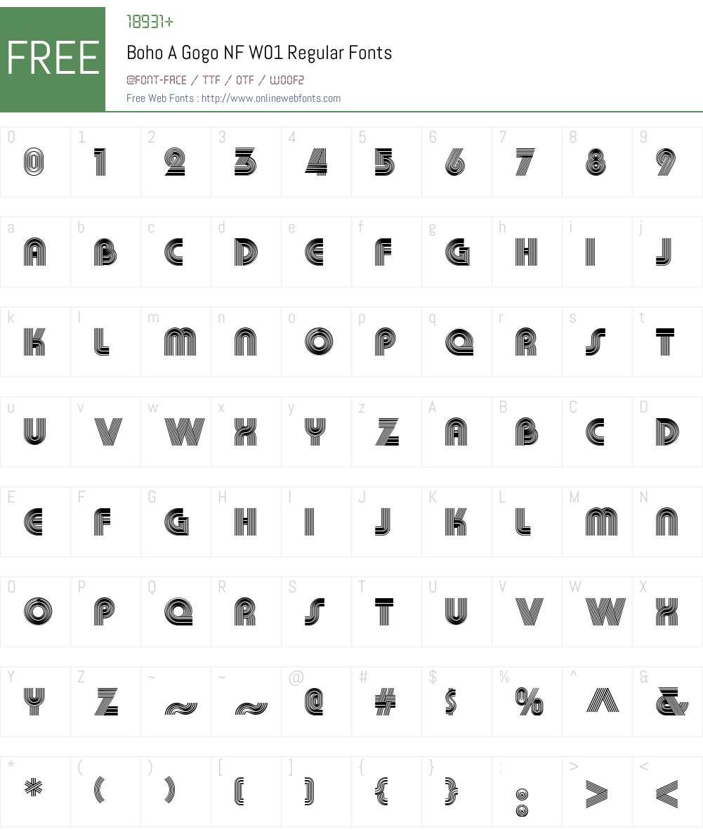 BohoAGogoNFW01-Regular Font Screenshots