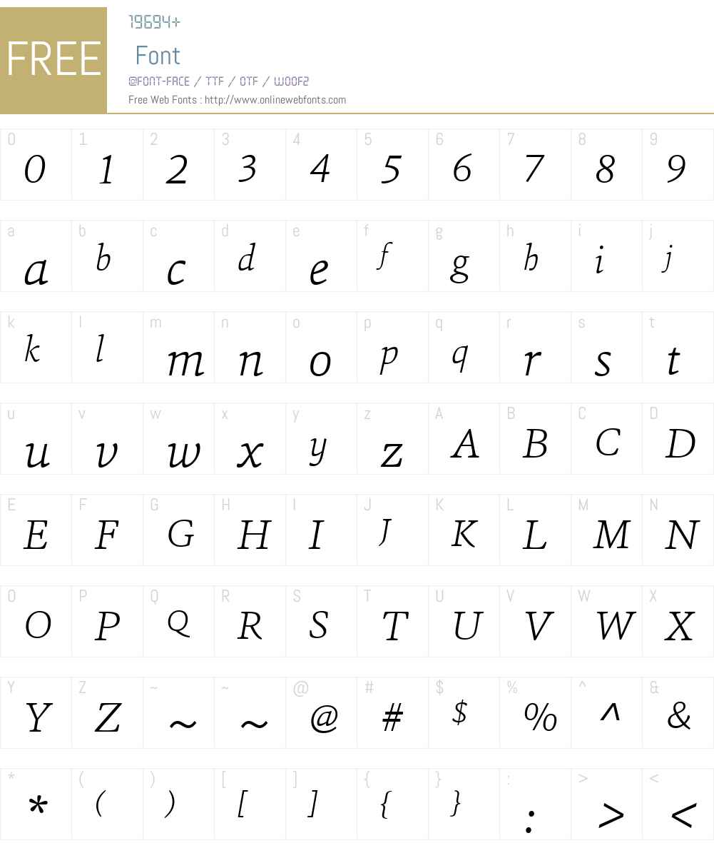 SinaW01-ExtraLightItalic Font Screenshots
