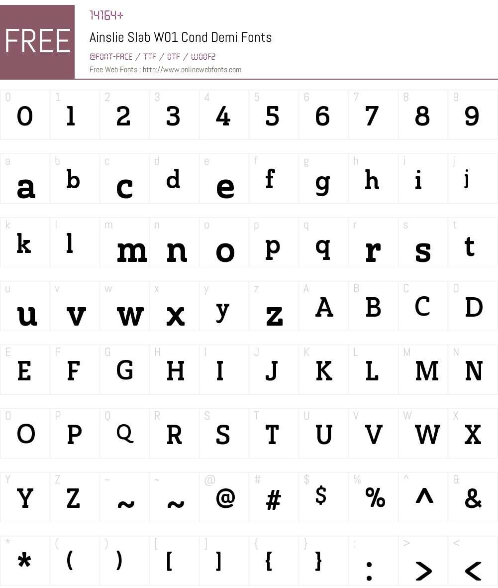 AinslieSlabW01-CondDemi Font Screenshots
