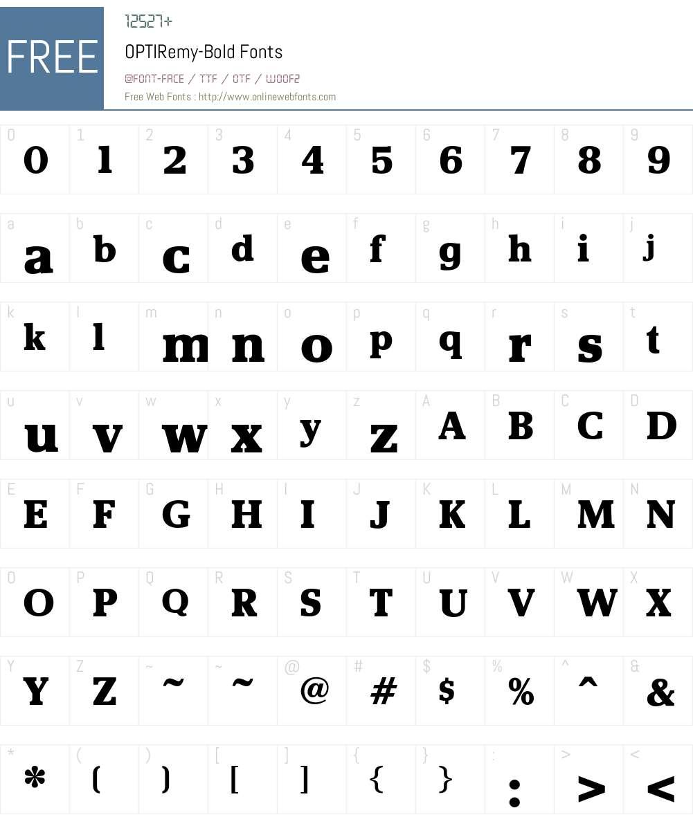 OPTIRemy-Bold Font Screenshots