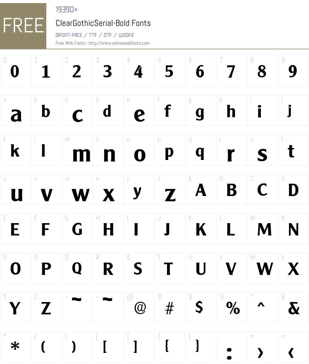 ClearGothicSerial Font Screenshots