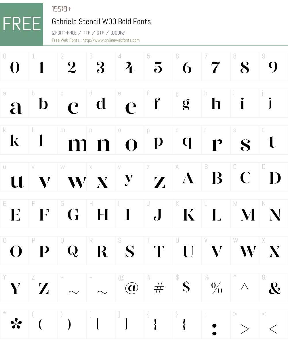 GabrielaStencilW00-Bold Font Screenshots