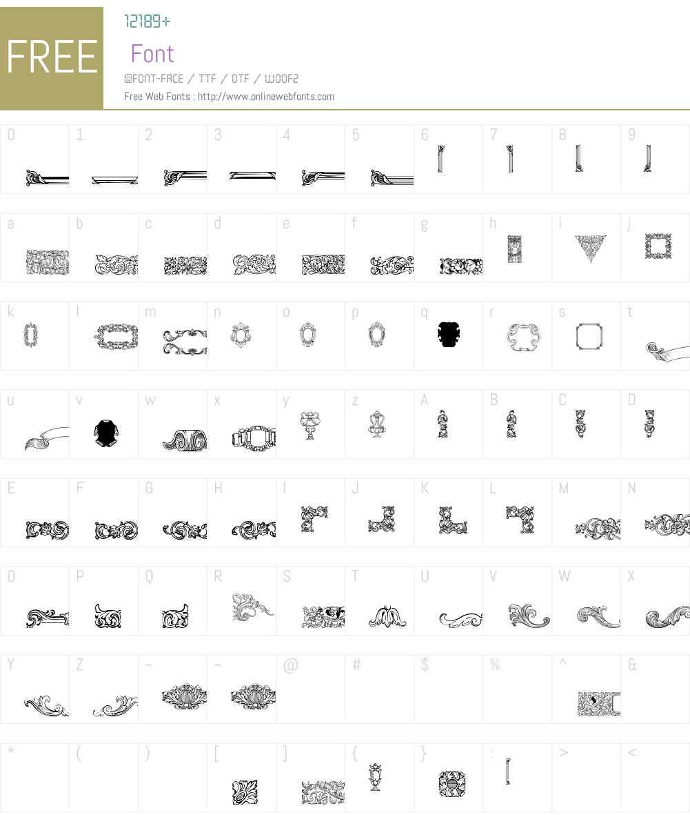 Mortised Ornaments Free Font Screenshots