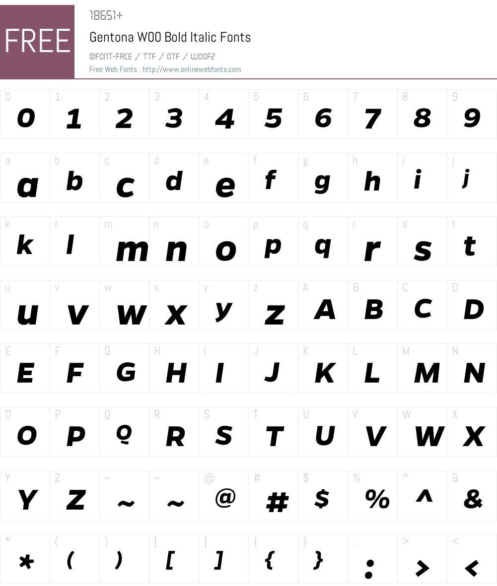 GentonaW00-BoldItalic Font Screenshots