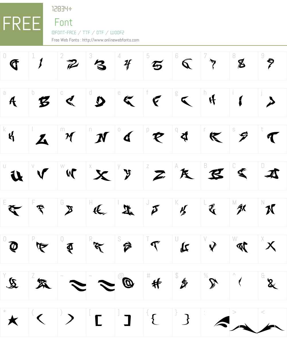 RaseOne-Fill Font Screenshots