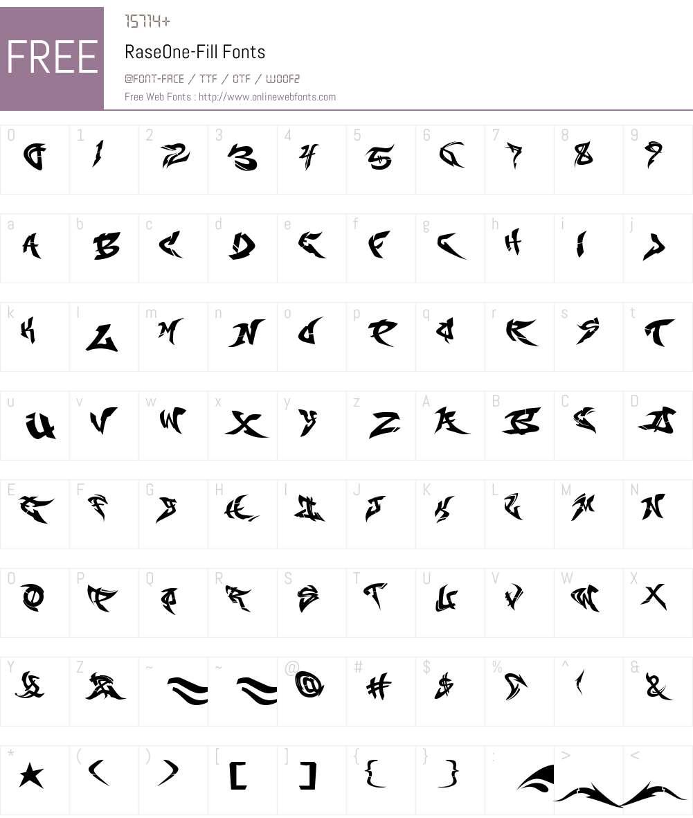 RaseOne-Fill Font Screenshots