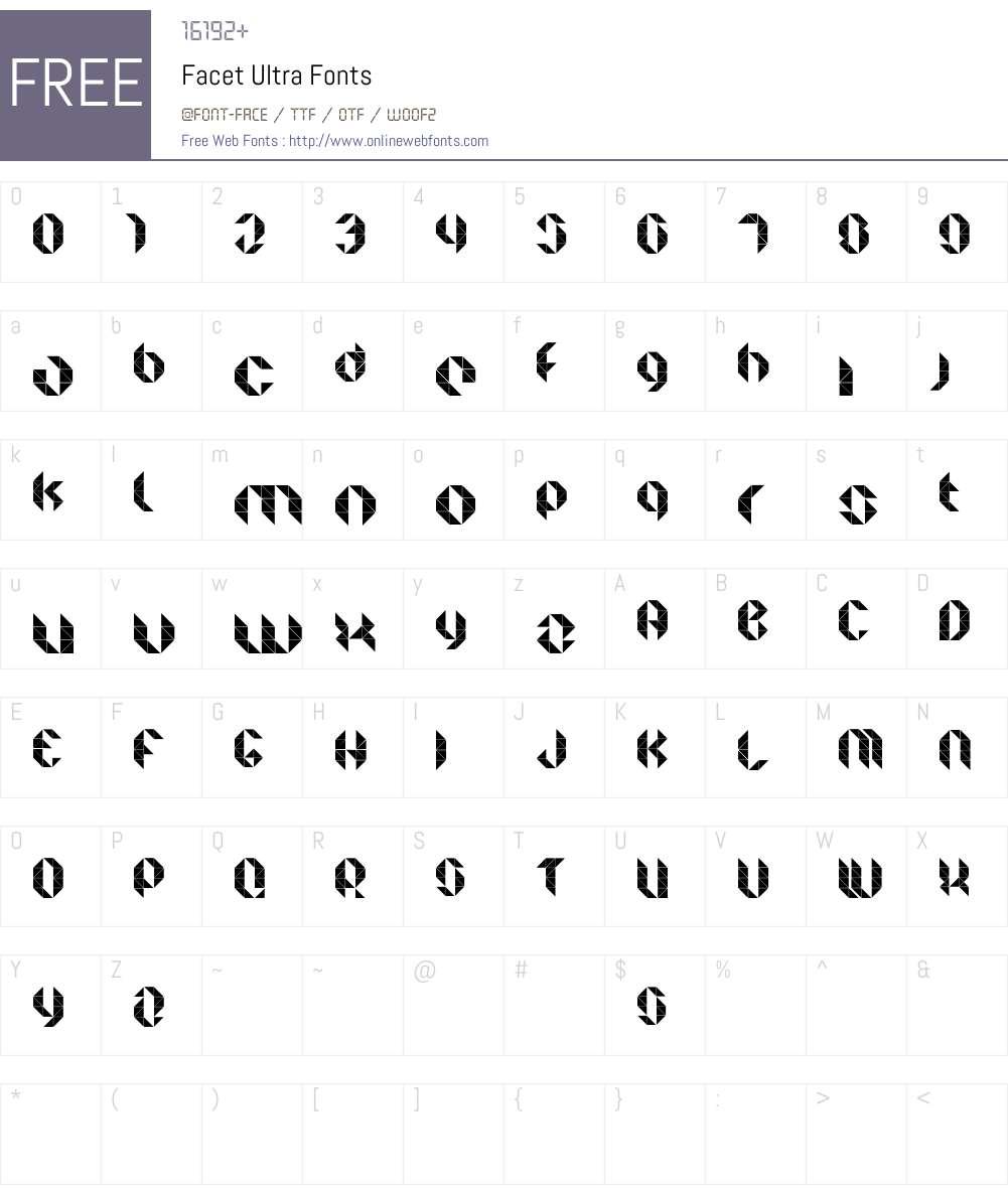 Facet Ultra Font Screenshots