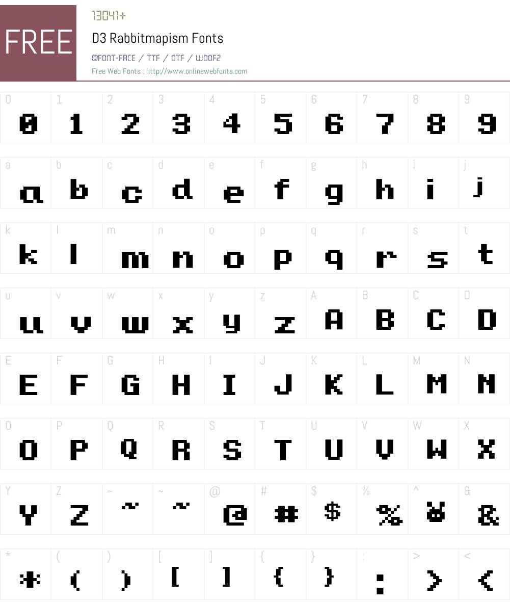 D3 Rabbitmapism Font Screenshots
