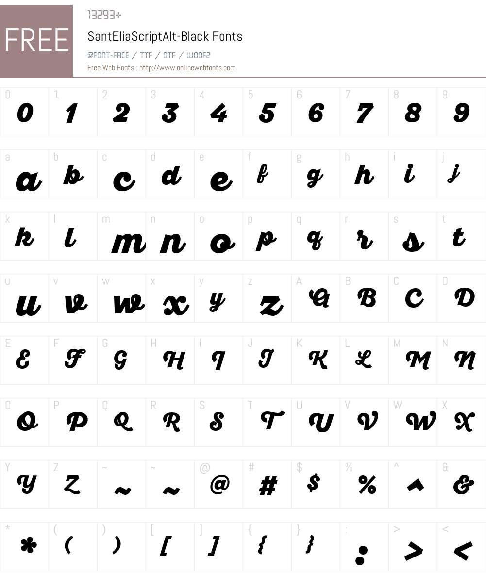 SantEliaScriptAlt-Black Font Screenshots