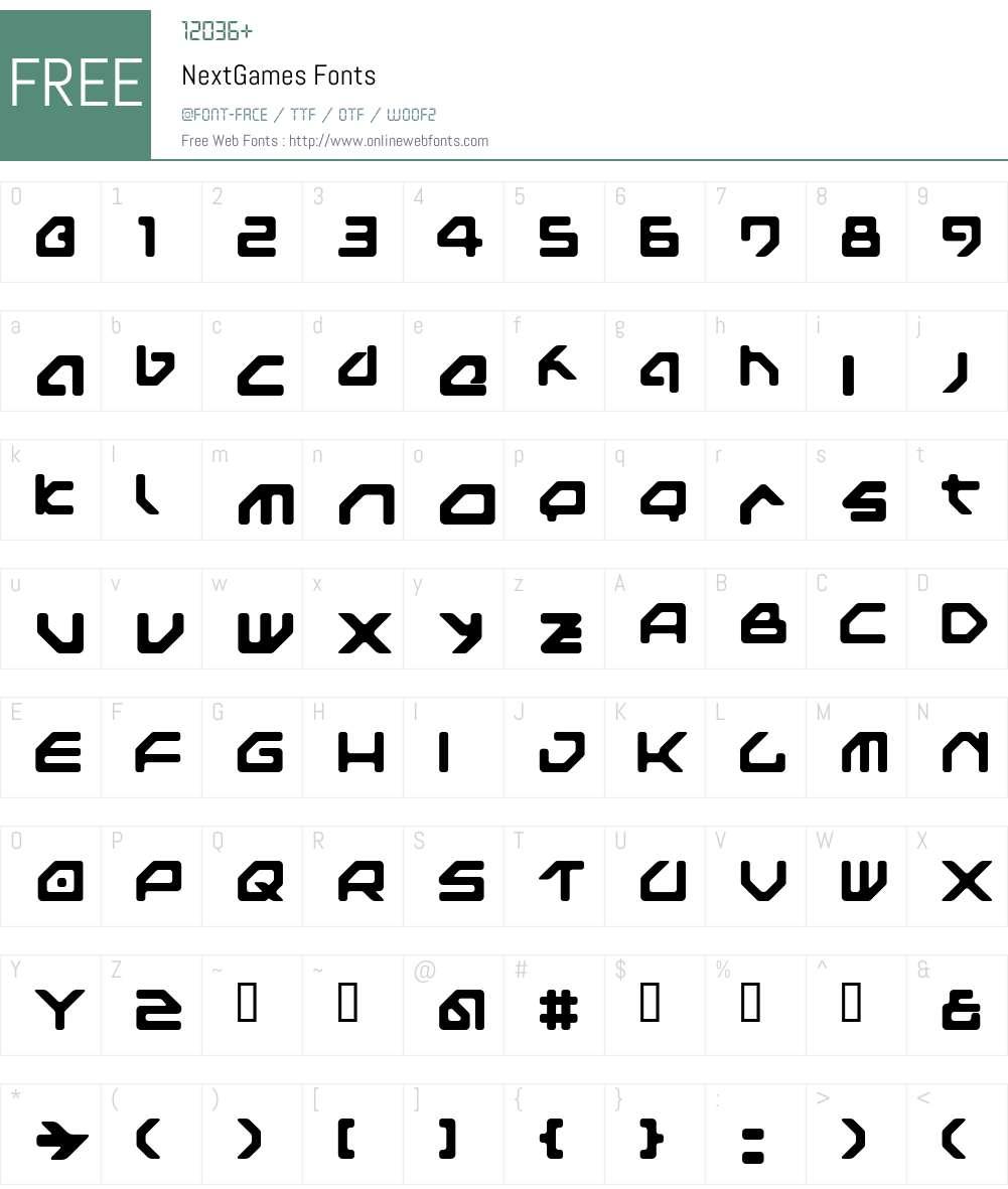NextGames Font Screenshots