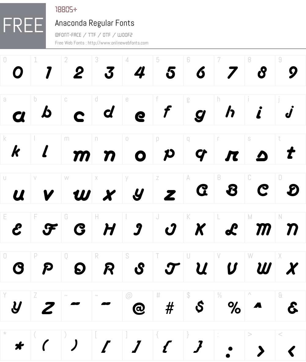 Anaconda Font Screenshots