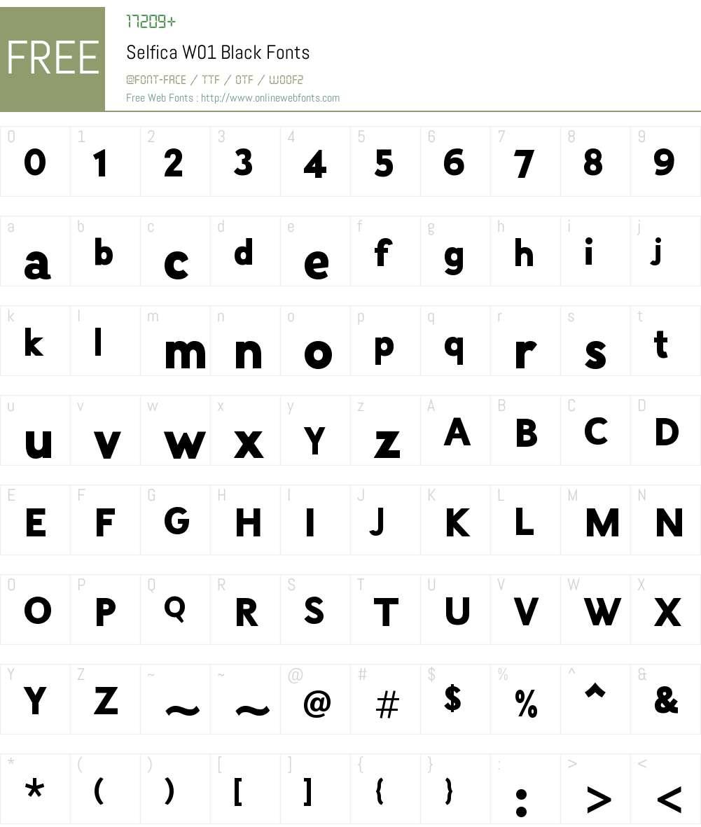SelficaW01-Black Font Screenshots