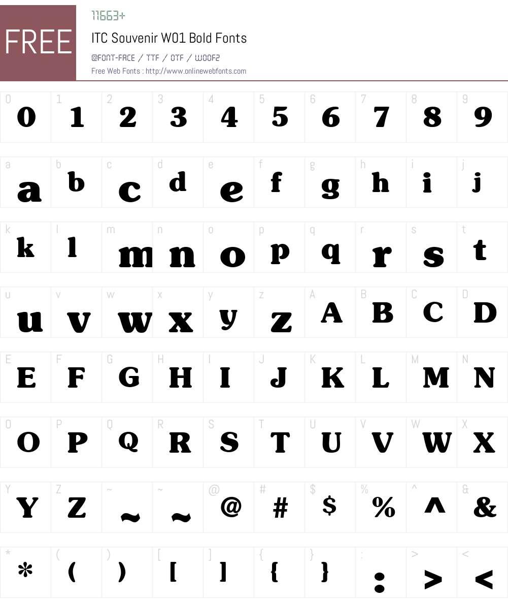 ITCSouvenirW01-Bold Font Screenshots