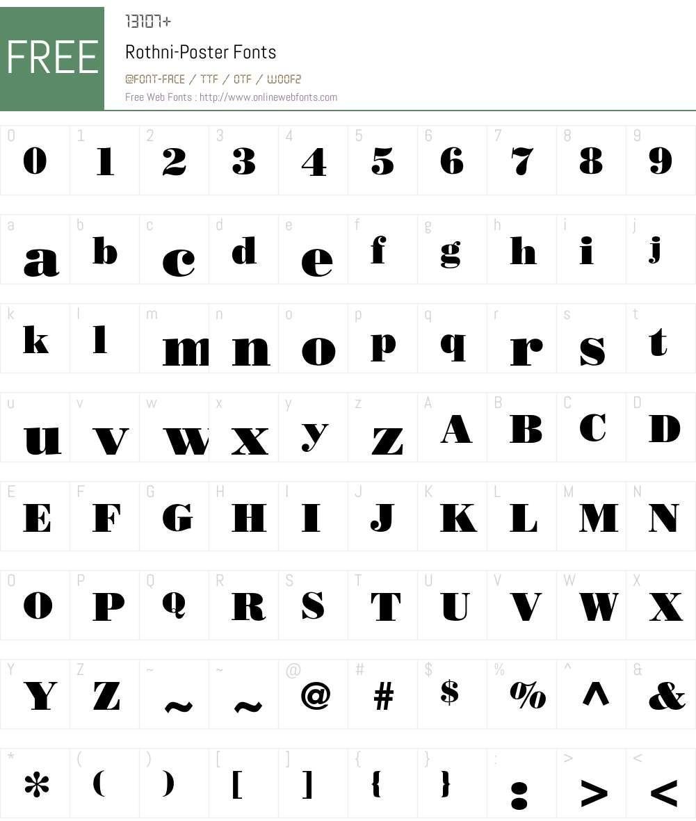 Rothni-Poster Font Screenshots