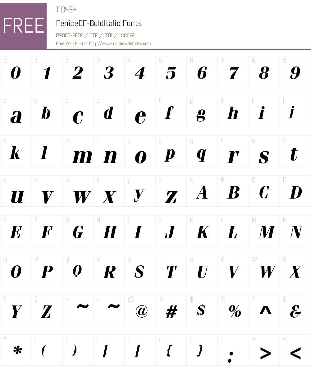 FeniceEF-BoldItalic Font Screenshots
