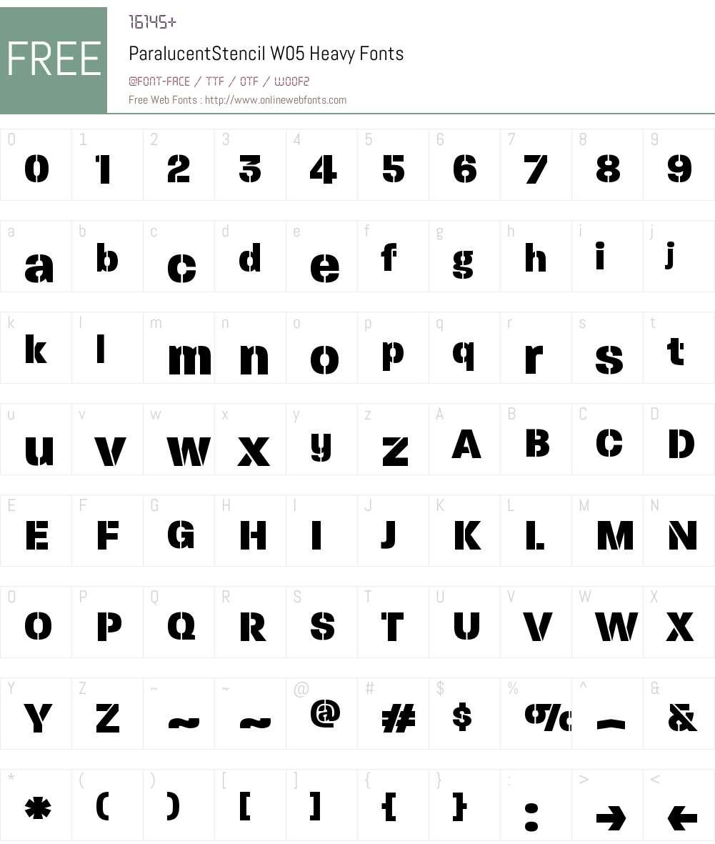 ParalucentStencilW05-Heavy Font Screenshots