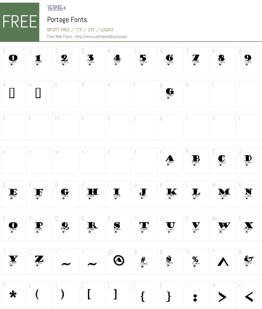 Portage Font Screenshots