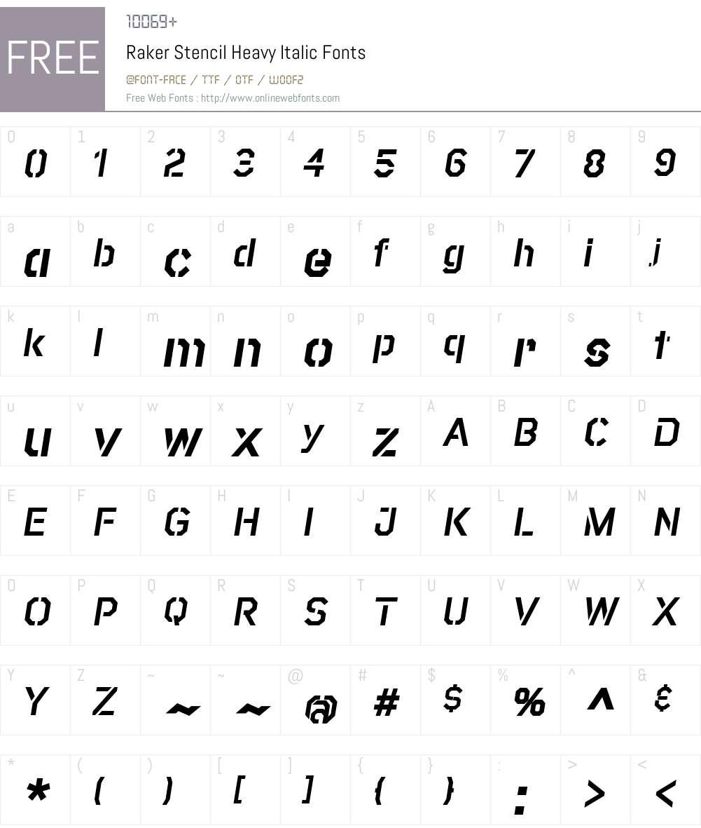 RakerStencil-HeavyItalic Font Screenshots