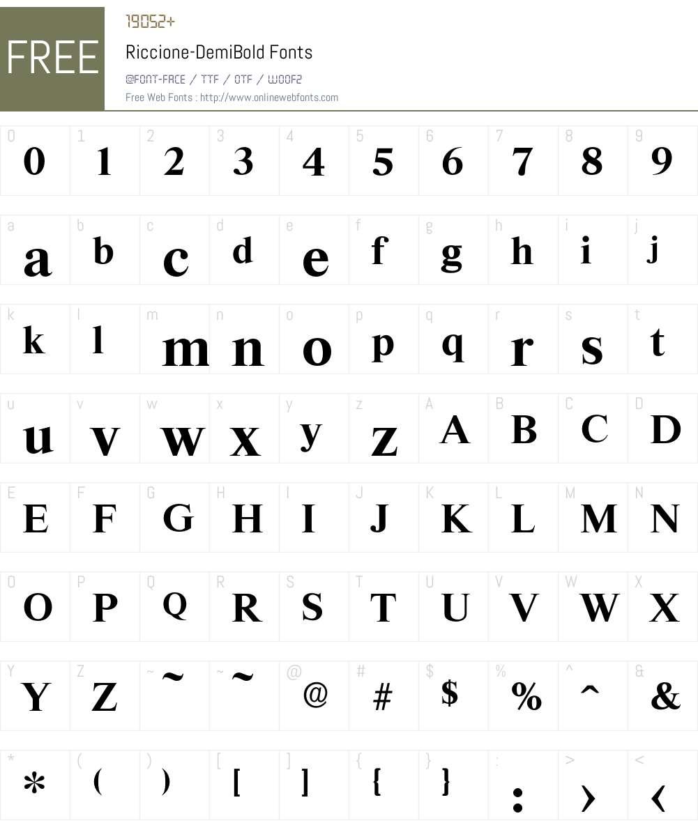 Riccione-DemiBold Font Screenshots