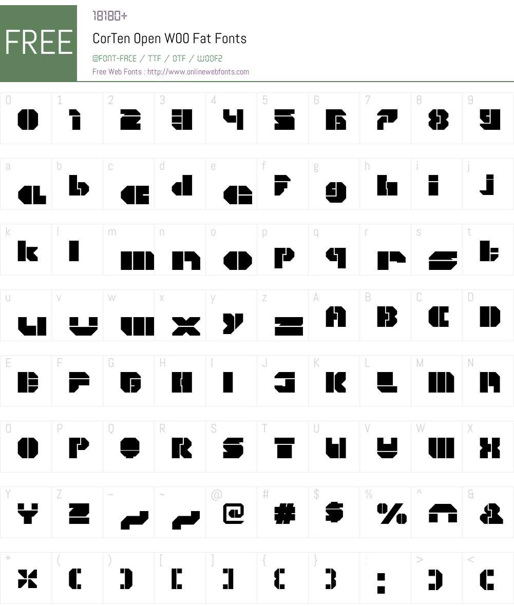 CorTenOpenW00-Fat Font Screenshots