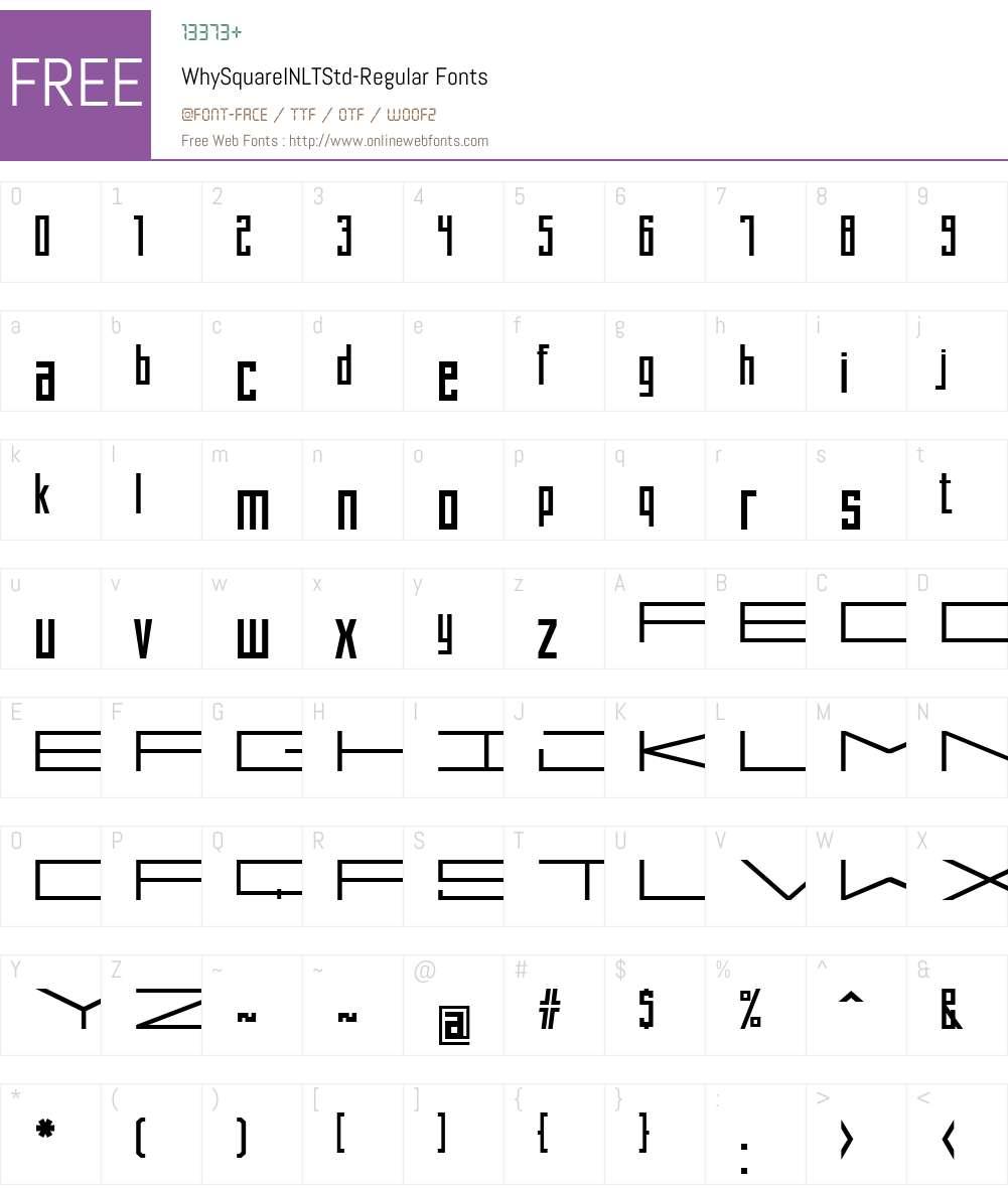 WhySquareINLTStd-Regular Font Screenshots