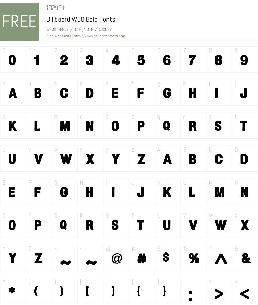 BillboardW00-Bold Font Screenshots