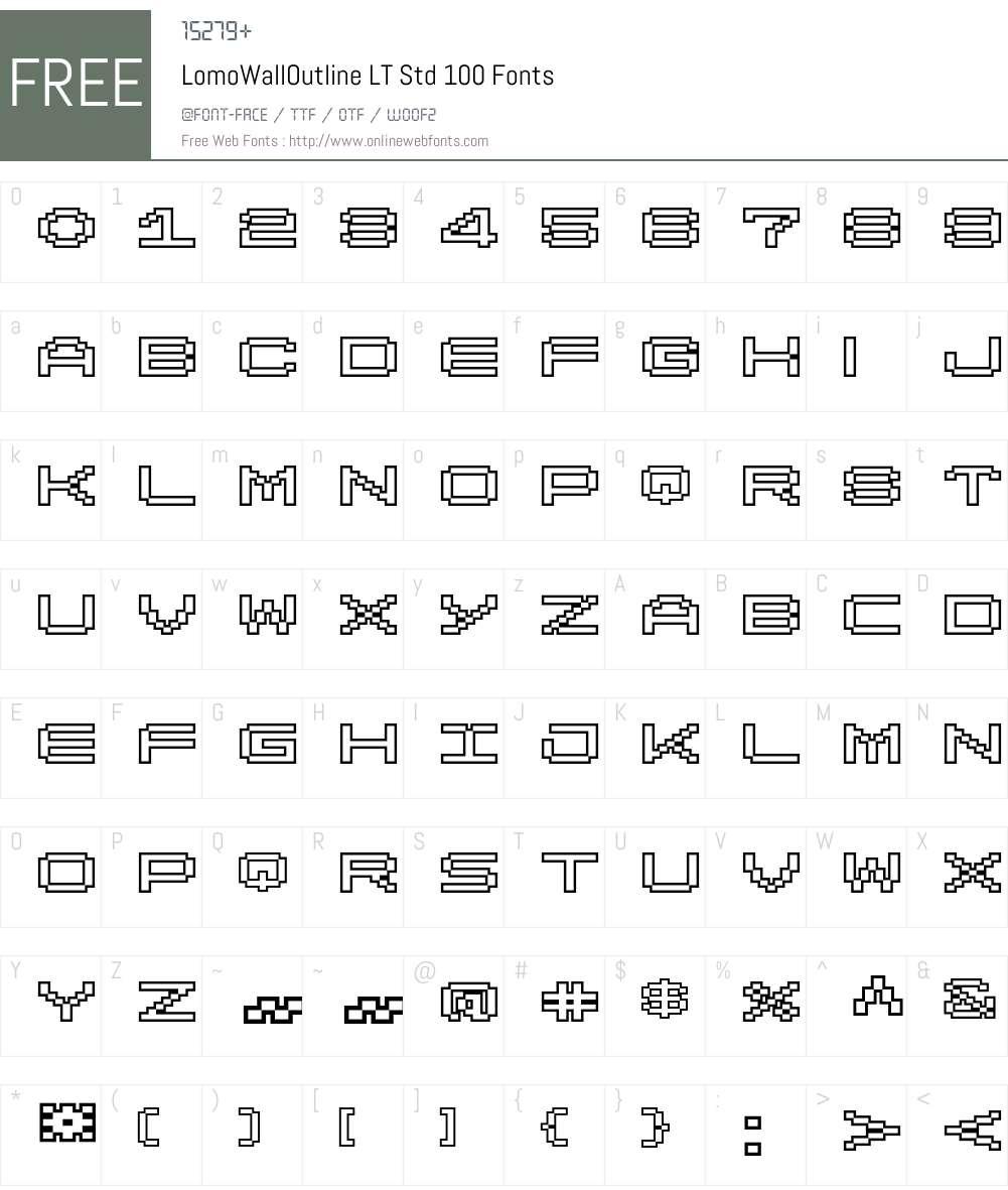 LomoWallOutline LT Std 100 Font Screenshots