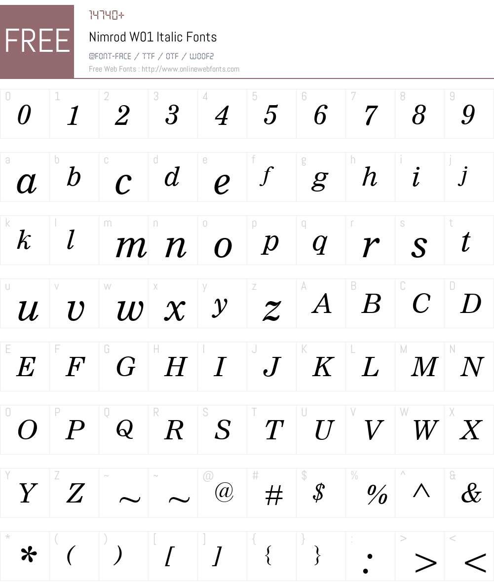 NimrodW01-Italic Font Screenshots