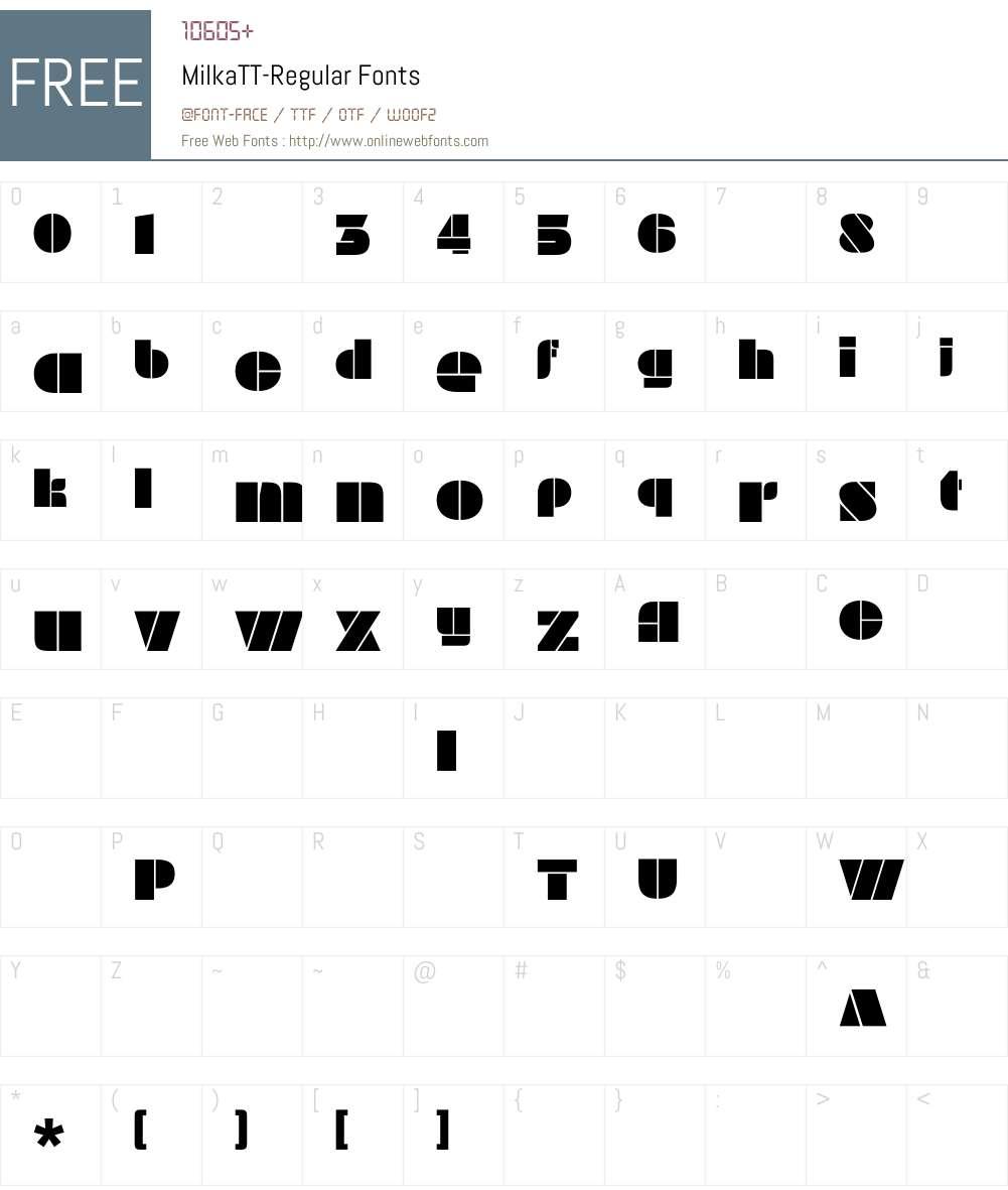 MilkaTT-Regular Font Screenshots
