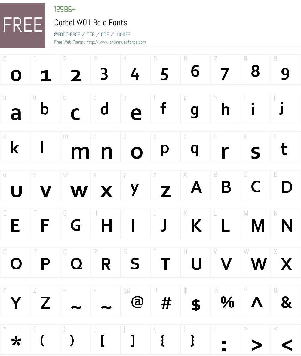 CorbelW01-Bold Font Screenshots