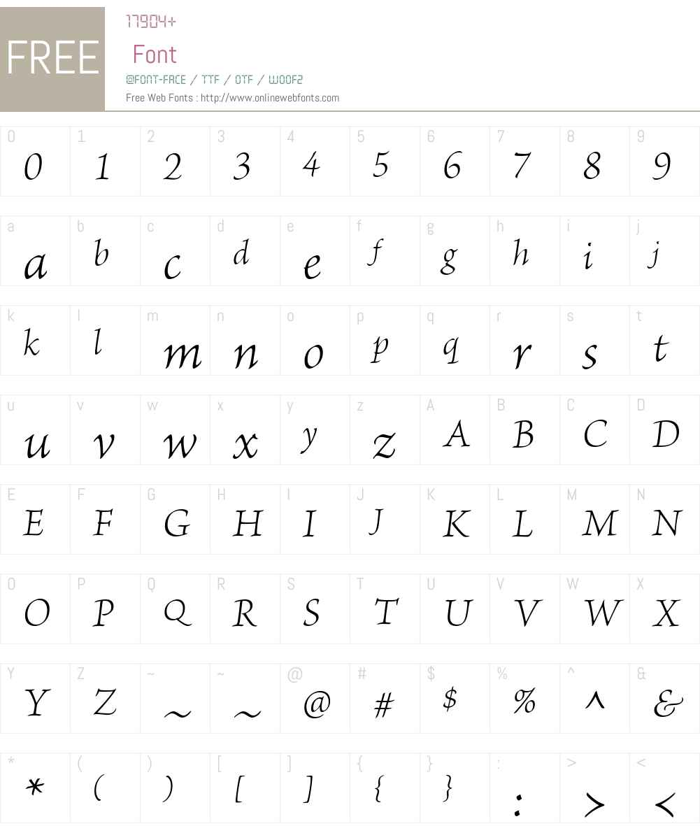 BriosoW01-LtIt Font Screenshots