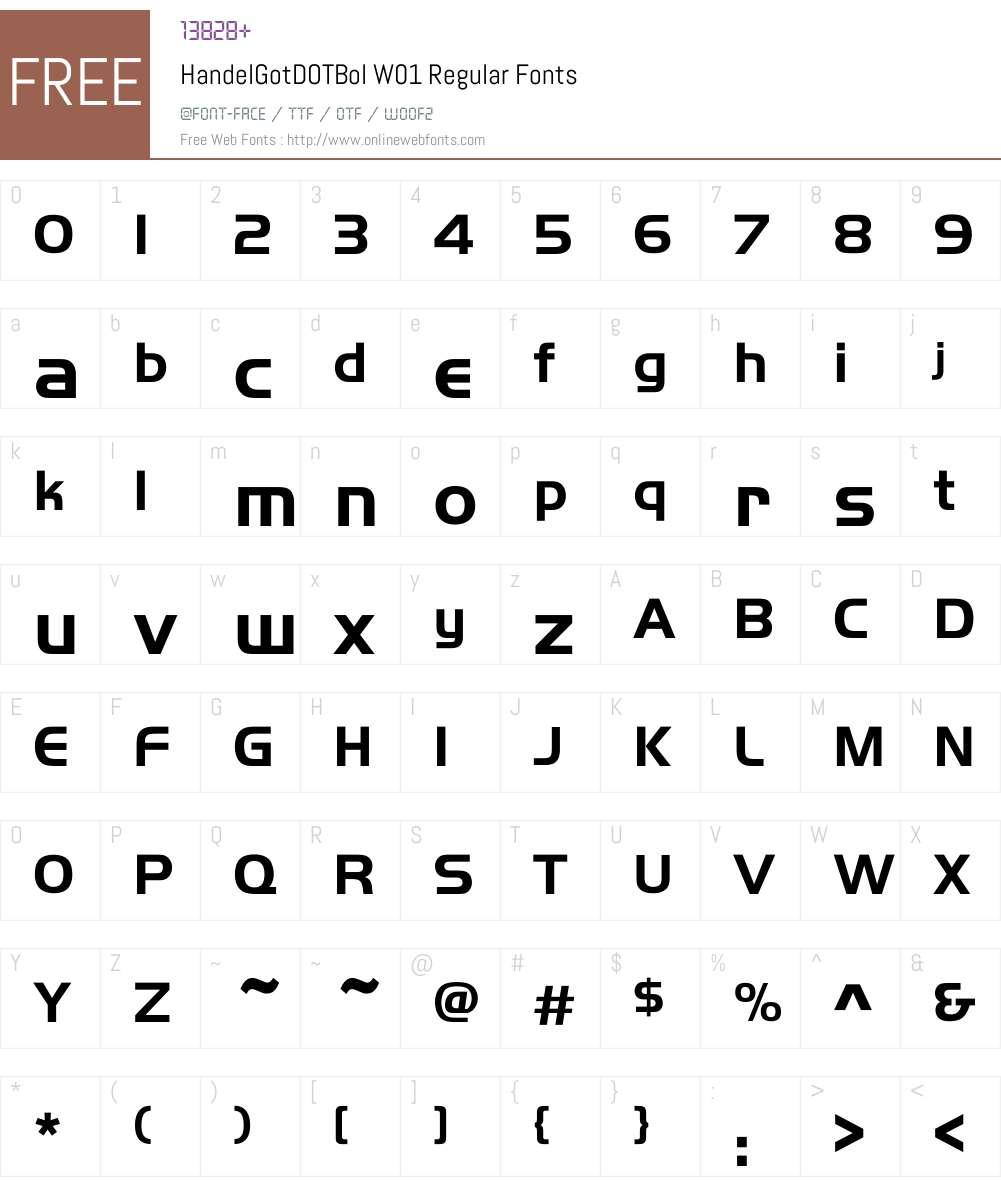 HandelGotDOTBolW01-Regular Font Screenshots