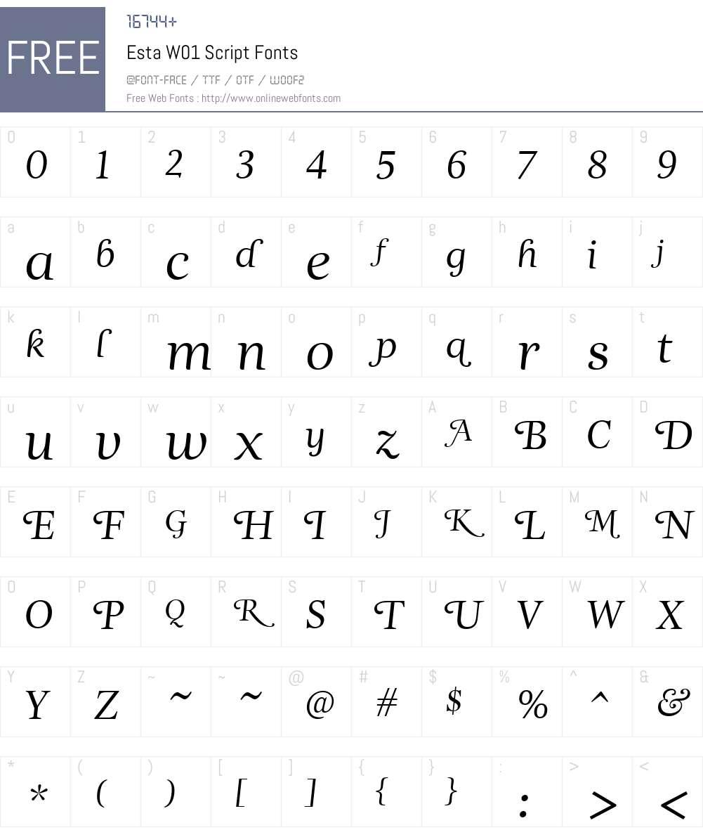 EstaW01-Script Font Screenshots