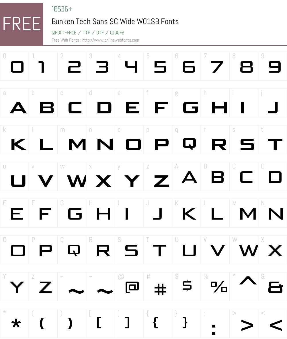 BunkenTechSansSCWideW01-SB Font Screenshots