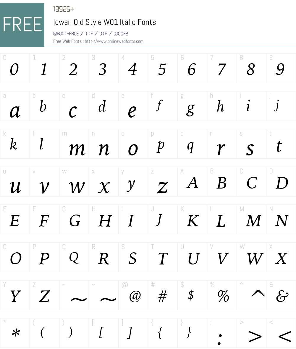 IowanOldStyleW01-Italic Font Screenshots